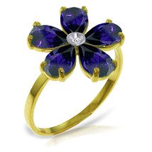 Brand New 2.22 CT 14K Solid Gold Sapphire Natural Diamond Ring - $289.52