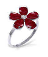Brand New 2.22 CT 14K Solid White Gold Ruby Natural Diamond Ring - $294.52