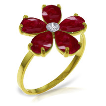 Brand New 2.22 CTW 14K Solid Gold Ruby Natural Diamond Ring - $289.52