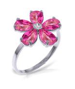 Brand New 2.22 CTW 14K White Gold Pink Topaz Natural Diamond Ring - $257.25