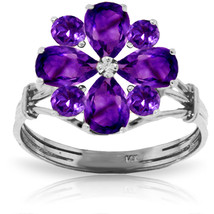 Brand New 2.43 Carat 14K Solid White Gold Hear Both Sides Amethyst Ring - £245.17 GBP