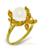 Brand New 2.65 CTW 14K Solid Gold Ring Natural Citrine pearl - $197.55