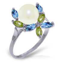 Brand New 2.63 CTW 14K White Gold Ring Natural Peridot, Blue Topaz pearl - £152.19 GBP