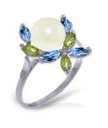 Brand New 2.63 CTW 14K White Gold Ring Natural Peridot, Blue Topaz pearl - $202.40