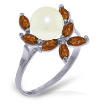Brand New 2.65 CTW 14K Solid White Gold Ring Natural Garnet pearl - $202.55