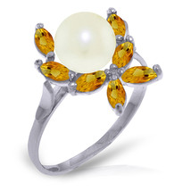 Brand New 2.65 CTW 14K Solid White Gold Ring Natural Citrine pearl - £151.53 GBP