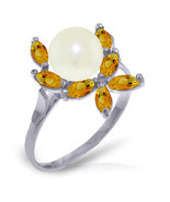 Brand New 2.65 CTW 14K Solid White Gold Ring Natural Citrine pearl - $202.55