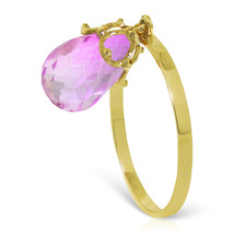 Brand New 3 CTW 14K Solid Gold Ring Dangling Briolette Pink Topaz - £122.65 GBP