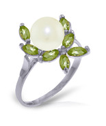Brand New 2.65 Carat 14K Solid White Gold Ring Natural Peridot pearl - $202.55