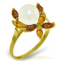 Brand New 2.63 Carat 14K Solid Gold Ring Natural Garnet, Citrine pearl - $197.40