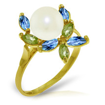Brand New 2.63 Carat 14K   Gold Ring Natural Peridot, Blue Topaz pearl - $197.40