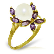 Brand New 2.65 Carat 14K Solid Gold Ring Natural Amethyst pearl - $197.55