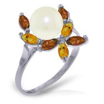 Brand New 2.63 Carat 14K   White Gold Ring Natural Garnet, Citrine pearl - $202.40