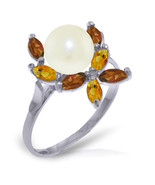 Brand New 2.63 Carat 14K   White Gold Ring Natural Garnet, Citrine pearl - $202.40