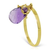 Brand New 3 Carat 14K Solid Gold Ring Dangling Briolette Purple Amethyst - £118.04 GBP