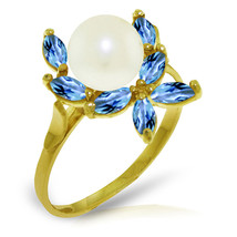 Brand New 2.65 Carat 14K Solid Gold Ring Natural Blue Topaz pearl - $197.55