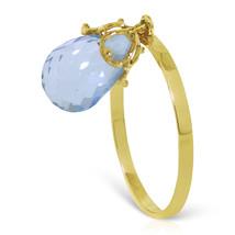 Brand New 3 CTW 14K Solid Gold Ring Dangling Briolette Blue Topaz - £118.04 GBP