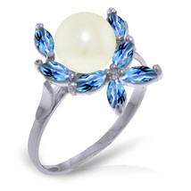 Brand New 2.65 Carat 14K Solid White Gold Ring Natural Blue Topaz pearl - £152.30 GBP