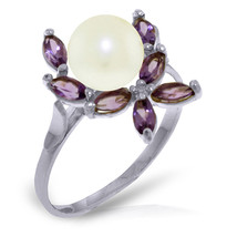 Brand New 2.65 Carat 14K Solid White Gold Ring Natural Amethyst pearl - £151.53 GBP