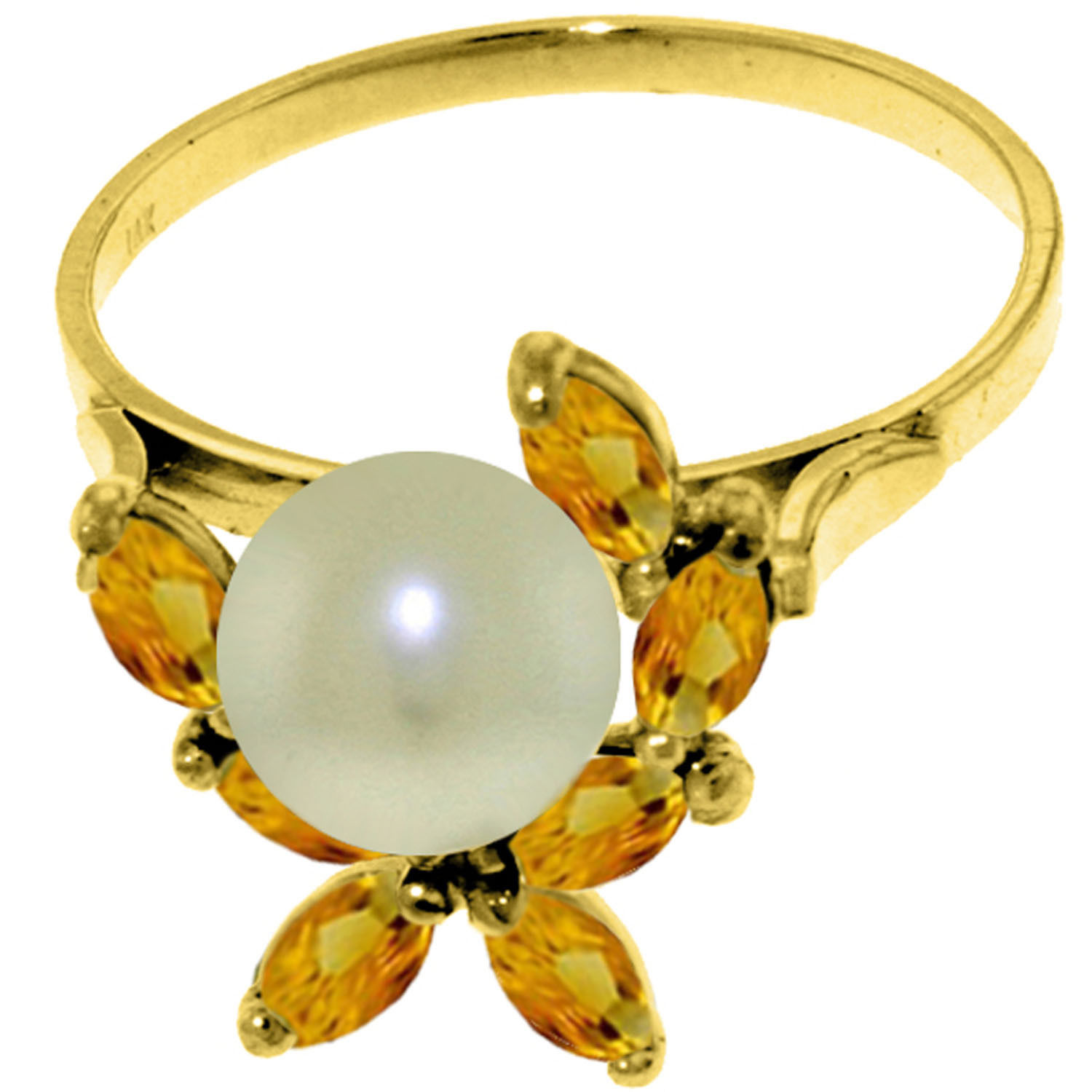 Brand New 2.65 CTW 14K Solid Gold Ring Natural Citrine pearl