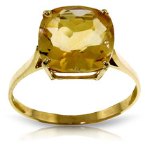 Brand New 3.6 CTW 14K Solid Gold Ring Natural Checkerboard Cut Citrine - £182.87 GBP