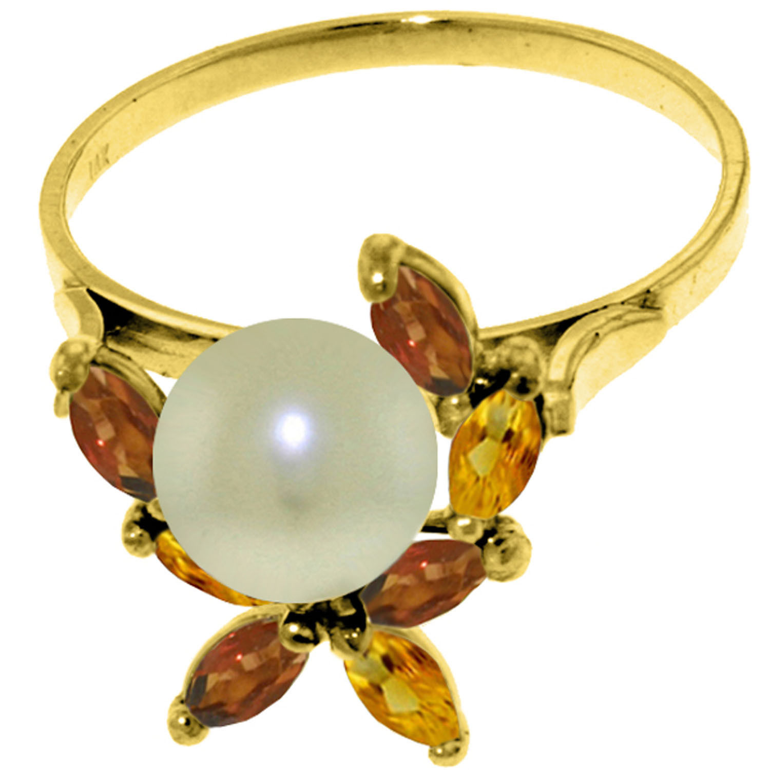 Brand New 2.63 Carat 14K Solid Gold Ring Natural Garnet, Citrine pearl