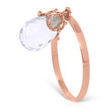 Brand New 3 Carat 14K Solid Rose Gold Ring Dangling Briolete White Topaz - $163.66