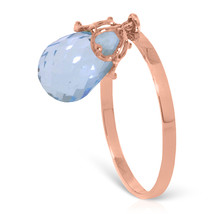 Brand New 3 Carat 14K Solid Rose Gold Ring Dangling Briolette Blue Topaz - $163.66