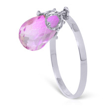 Brand New 3 Carat 14K Solid White Gold Ring Dangling Briolette Pink Topaz - $166.74
