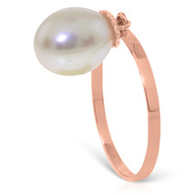 Brand New 4 Carat 14K Solid Rose Gold Ring Dangling Natural pearl - $140.35