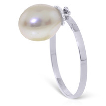 Brand New 4 Carat 14K Solid White Gold Ring Dangling Natural pearl - $137.35
