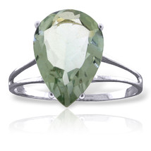 Brand New 5 Carat 14K Solid White Gold Love Is A Verb Green Amethyst Ring - $242.03