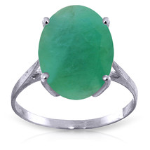 Brand New 6.5 Carat 14K Solid White Gold Ring Natural Oval Emerald - $659.28