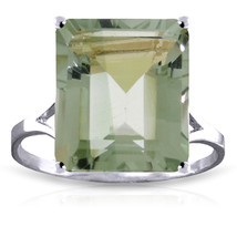 Brand New 6.5 Carat 14K   White Gold Ring Natural Octagon Green Amethyst - $308.47