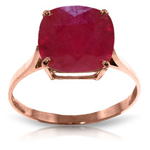 Brand New 6.75 Carat 14K Solid Rose Gold Ring Natural Cushion Shape Ruby - $498.13