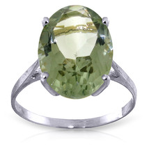 Brand New 7.55 Carat 14K Solid White Gold Ring Natural Green Amethyst - £225.14 GBP
