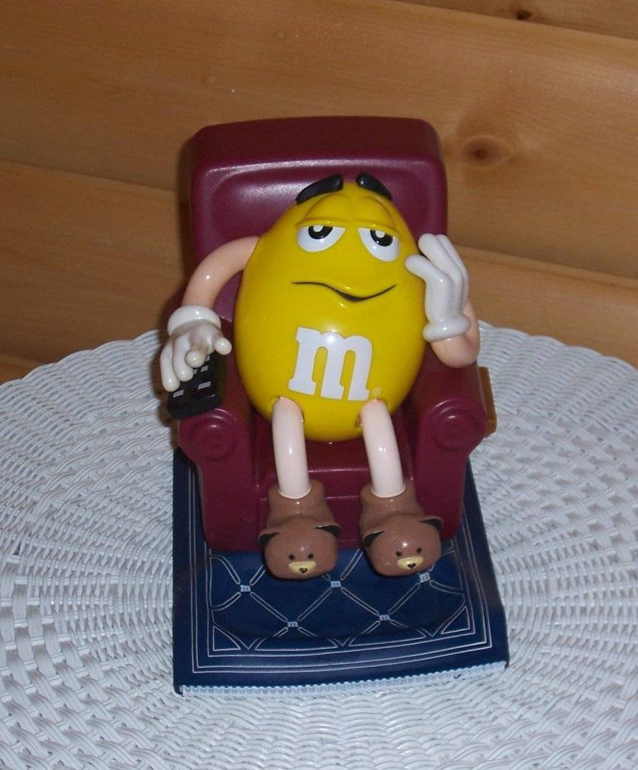 Primary image for M & M's Yellow with TV Remote in Recliner Chair with Foot Rest Candy Dispenser