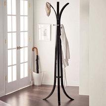 Standing Coat Rack Black Wood Home Entryway Hall Hat Metal Hooks Tree St... - $119.99
