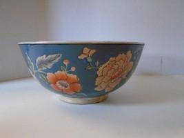 Japanese Porcelain Bowl Macau Flowers Floral Bl... - $37.04