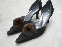 Stuart Weitzman Robert Front Furini Black Suede New 6 1/2 M Heels Fur Trim  - $167.94