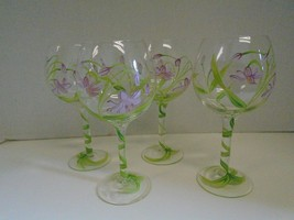 4 Four Floral Flowers Purple Green Balloon Red Wine Glasses Hand Painted  - $65.17