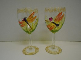 Pair 2 Two Dragonfly Lady Bug Wine Glasses Hand Painted Orange Gold Gree... - $41.73
