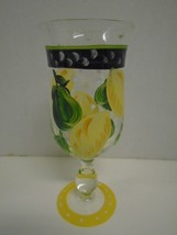 Hand Painted Lemons Pear Fruit Water Glass Base Green Yellow  Goblet Stem - $27.76