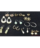 Lot 11 Pair Pierced Earrings Hoops Floral Enamel RS Hearts Costume Jewel... - $19.74