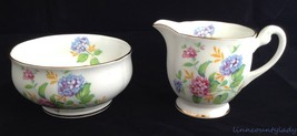 Vtg Windsor Bone China Creamer & Sugar England Hydrangea Pink Blue Gold ... - $29.64