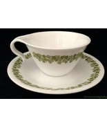 One Set Corelle Hook Handle Cup and Saucer Spring Blossom Green Crazy Da... - $12.81