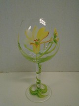 Floral Flowers  Green Yellow Red Wine Glass Hand Painted Vine Balloon - $41.42 CAD