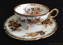 Napco Hand Painted Yellow Gold Roses 3 Toed Cup & Saucer Heavy Gold Trim... - $29.64