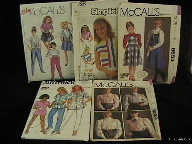Primary image for 5 UNCUT Girls Sewing Patterns Sz 7 + Shirts Shorts Pants Laura Ashley FR SHP