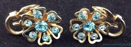 Vtg Coro Aqua Turquoise Blue Rhinestone Floral Screwback Signed Earrings... - $29.64